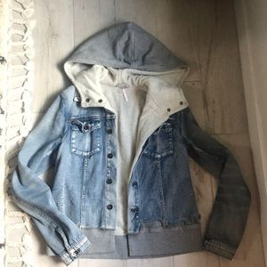 EUC free people sweatshirt and denim jacket small